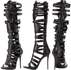Giuseppe Zanotti High-Heel Caged Knee Sandal - This shoe demands attention! Strappy Sandals Heels, Open Toe Sandals, Strap Heels, Sandals Platform, Sexy Heels, Women Sandals, Strap Sandals, Bootie Boots, Shoe Boots