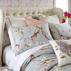 Give your bedroom that French Provincial feel with our 100% cotton Mockingbird Blue bedding set. Clear skies and fresh breezes just seem to follow when you dress your bed with our exclusive print and a bevy of matching pillows. Was that a butterfly?