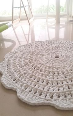 crochet rug round rug cotton rug crochet carpet by martamartim