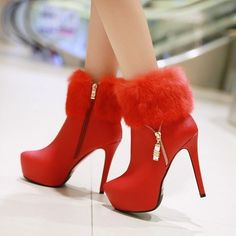 Womens Wedding Stilettos Side Zip Platform Winter Ankle Boots High Heels Pumps