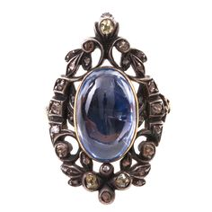 Sapphire Diamond Locket Ring  Europe  circa 1760-1830