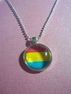 Pansexual Pride Necklace // Pan Pride Flag by FemmeArchist on Etsy.
