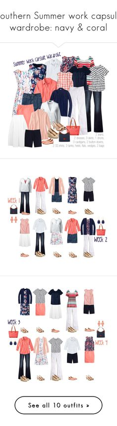 """""""Southern Summer work capsule wardrobe: navy & coral"""" by kristin727 ❤ liked on Polyvore featuring Oxford, Lands' End, Gap, Boden, J.Crew, Madewell, Miss Selfridge and Dooney & Bourke"""
