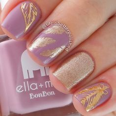 Lilac and Gold Nails With Feather Nail Art.