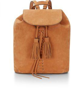 Minimalist bohemian Moto backpack with fringe tassels