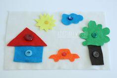 Filcowa układanka – zapinanie guzików z przedszkolakiem