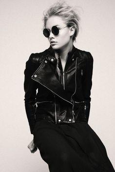 Leather Babe – leather, beetle sunglasses, blazer, jacket, biker, rocker, black, dress, blonde, model, editorial