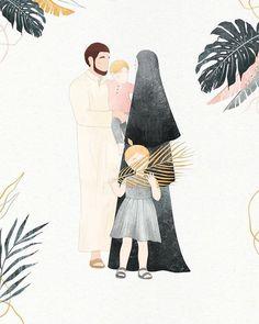 Flat Design Illustration, Illustration Art, Muslim Pictures, Islam Marriage, Cute Couple Wallpaper, Islamic Cartoon, Cute Muslim Couples, Muslim Family, Anime Muslim