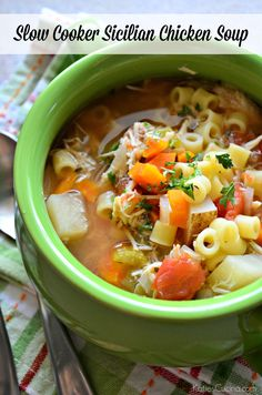 Sicilian Chicken Soup does all the work in the slow cooker for one amazing lunch or dinner. Spoon it over cooked pasta, and you& Sicilian Chicken Soup Recipe, Italian Chicken Soup, Chicken Soup Recipes, Pasta Recipes, Chicken Soups, Rotisserie Chicken, Chicken Soup Slow Cooker, Crock Pot Soup, Slow Cooker Recipes