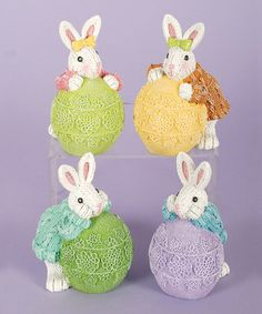 This Leaning Bunny Figurine Set is perfect! #zulilyfinds