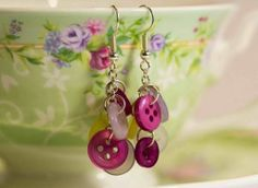 Berry Sweet Earrings | FaveCrafts.com  [I would like to use green chain for the base of these]