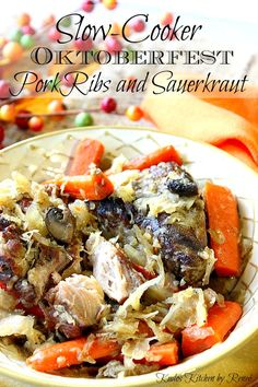 Nothing speaks to the flavors of Oktoberfest more than pork and sauerkraut. This easy Slow-Cooker Pork Ribs and Sauerkraut brings family to the autumn table with a minimum of effort. - Kudos Kitchen by Renee
