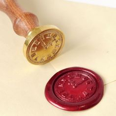 Pattern: the Clcok 1 round delicate engraved die makes beautifully detailed wax imprints removable wood handle Sealing wax with wicks: black& red, vibrant color Ideal for embellishment of envelope,invitations, wine package,etc Wax Seal Stamp Kit, Wax Stamp, Letter Writing, Writing Instruments, Mail Art, Stationery Design, Hand Lettering, Clock, Crafty