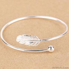 Fresh Women Silver Bangle Feather Simple Open Bracelet