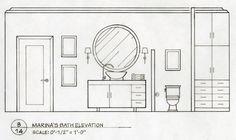 Home Decoration For Halloween #InteriorWindowShutters  #BestInteriorPaint Coupes Architecture, Interior Architecture Drawing, Drawing Interior, Interior Design Sketches, Classical Architecture, Layout Design, Kitchen Elevation, Bathroom Drawing, Best Kitchen Design