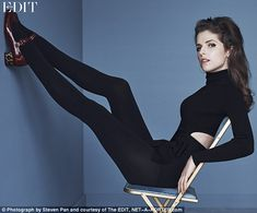 Posing like a pro: In another sultry image, the Pitch Perfect actress - who was shot by Steven Pan and styled by Sofia Catania - can be seen rocking a slinky catsuit with cut-outs at the waist