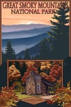 Great Smoky Mountains - Cades Cove - Lantern Press Poster