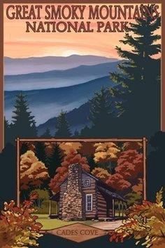Great Smoky Mountains - Cades Cove - Lantern Press Poster