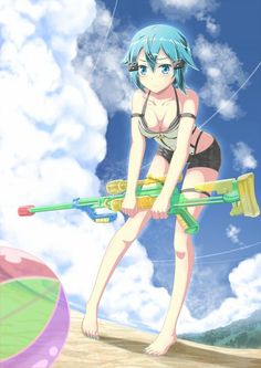 Sinon (シノン, Shinon?) is a skilled VRMMO game player in «Gun Gale Online» and «ALfheim Online». Her real name is Asada Shino (朝田 詩乃, Asada Shino?). She is nicknamed Hecate in GGO, after her gun «PGM Ultima Ratio Hecate II», a rare .50 caliber anti-materiel sniper rifle. She is one of the main characters of the Phantom Bullet Arc and the first female player that Kirito met in GGO. She plays GGO to overcome her trauma concerning guns. After joining «ALfheim Online» she becomes a Cait Sith…