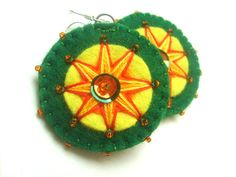 Green and yellow hand embroidered felt earrings - grabacoffee