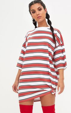 9b13698864 Red Striped Oversized Boyfriend T Shirt Dress