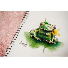 요즘 도안그리기 재미져요  개구락지 개굴개굴  #frog#green#tattoo #tattoopeople #design #drawing #watercolor #gnotattoo #style #daily #개구리#타투#도안#디자인#타투피플 #지노타투#부산#서면#드로잉#수채화#지노#짠