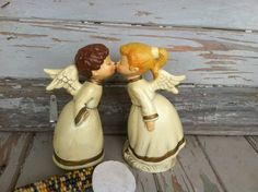Kitsch Vintage Kissing Angel Statues  Mid by happydayantiques