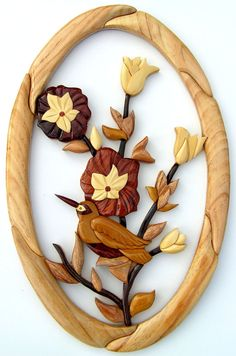 Oval Setting with Rose Flower Handmade Wooden Art Sign Wall Plaque Hanging Intarsia Pictue Home Decor on Etsy, $32.99