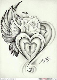 Heart lock tattoo, sacred heart tattoos, heart with wings tattoo, rose heart tattoo Heart Lock Tattoo, Rose Heart Tattoo, Heart With Wings Tattoo, Sacred Heart Tattoos, Tattoo Hals, 1 Tattoo, Tattoo Drawings, Tattoo Fonts, Grief Tattoo