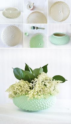 Try These Best DIY Projects For Your Home Decoration, Diy And Crafts, Upcycled Lampshade Vases. Transfer a simple clear lampshade into a stunning vase for home decoration with spray paints! Upcycled Crafts, Recycled Decor, Upcycled Vintage, Vintage Vases, Vintage Jewelry, Diy House Projects, Cool Diy Projects, Craft Projects, Weekend Projects