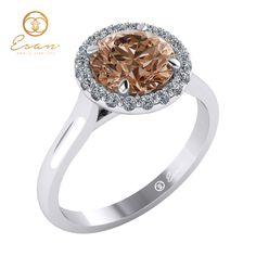 Inel de logodna din aur cu diamant coniac ES151 Aur, Engagement Rings, Jewelry, Enagement Rings, Wedding Rings, Jewlery, Bijoux, Schmuck, Pave Engagement Rings