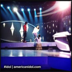Jessica Sanchez gets pointers from choreographer Napoleon D'umo and vocal coach Peisha McPhee while rehearsing for her Top 4 performance. #idol