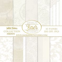 White Digital Paper, Digital Scrapbooking, Fabric Digital Paper, printable papers for creating gorgeous shabby chic wedding invitaitons, scrapbook layouts, planner stickers, cards, mixed media, journal pages and more.
