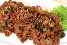 Tried n tested :Spicy Pork Bulgogi (Spicy Marinated Pork) . Verdict: tasty and very similar to korean restaurant quality. Use pork belly if possible and slice thinly Greek Diet, Lebanese Cuisine, Korean Food, Korean Recipes, Korean Dishes, Korean Bbq, Korean Street, Pork Recipes, Easy Recipes