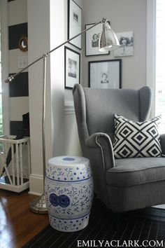 Favorite Posts & pictures from 2013 - Emily A. Clark- love the chair, the pics on wall and even her striped entryway