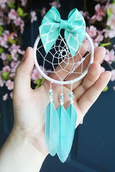 Aqua Bow Dream Catcher for Car: Turquoise Car Accessory for