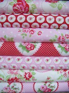 7 Fat Quarters Bundle VALENTINE ROSE in Pink/Red by Tanya Whelan-1.75 Yd Total