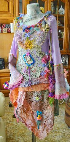 off Art To Wear dress Bohemian Gypsy dress  Upcycled dress