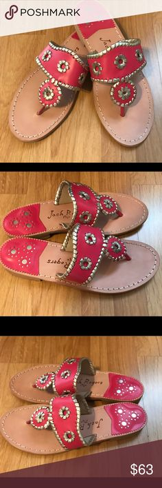 NWT Jack Rogers NWT Jack Rogers red sandals. These I purchased for my mother however they didn't fit. They are NWT but they do not have a box. Jack Rogers Shoes Sandals