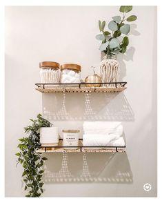 Bathroom Shelf Decor, Bedroom Decor, Bathroom Ideas, Bathroom Inspo, Plants For Bathroom, Decorating Bathroom Shelves, Small Bathroom Shelves, Modern Boho Bathroom, Entryway Shelf