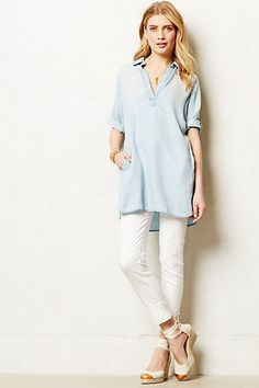 Dotted Chambray Tunic #anthropologie  -- would love this with my white leggings!
