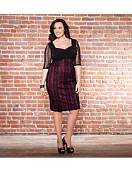 The classic lace dress gets a playful update for the holiday season. The solid black sweetheart bodice maintains coverage while enhancing the d'collet. The sassy, sheer lace pattern atop the curve enhancing lining underneath hugs your curves for a very burlesque-inspired silhouette. The three quarter sleeves allow comfort and coverage while evoking the power of suggestion.