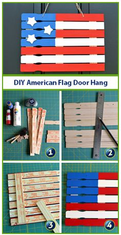 Make a paint stick American Flag for the of July with supplies from your local craft and hardware stores. Make a paint stick American Flag for the of July with supplies from your local craft and hardware stores. Paint Stick Crafts, Crafts To Do, Wood Crafts, Crafts For Kids, Crafts For The Home, Paper Crafts, Canvas Crafts, Easy Crafts, Summer Crafts