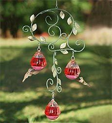 Love this humingbird feeder Garden Bird Feeders, Bird House Feeder, Humming Bird Feeders, Hummingbird Swing, Glass Hummingbird Feeders, How To Attract Birds, Mobiles, Wire Crafts, Yard Art