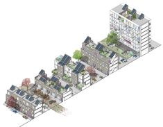 Sectional cut through the various terraced housing typologies, streets and garden , Homes for Life, Gort Scott Architects Architecture Collage, Architecture Drawings, Architecture Design, Co Housing Community, Axonometric Drawing, Presentation Styles, 3d Modelle, Salford, London House