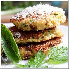 Spring Herb Quinoa Patties.↓ Inspired by a recipe inSuper Natural Every Day, byHeidi Swanson. Ingredients.↓ 2 cups cooked quinoa (about 3/4 c. dry) 2 eggs 2 Tbsp chopped green onion 2 Tbsp chopped mint 2…