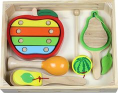 Discoveroo – Fruit Music Set is the perfect set for bringing the musician out in your child. Made from plantation wood and safe paints, these quality pieces will be around for years and years to come..:)