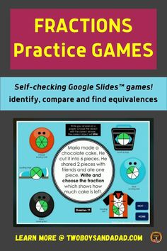 Whether in a virtual or distance learning setting or for in-person instruction, students can play these Google Slides self-checking games to identify, compare and find equivalent fractions. This activity is appropriate for 3rd and 4th-grade students who need to practice with fractions and get immediate feedback through self-checking slides that provide students with fraction practice using area models, length models, and number lines models. Discover and learn more! #twoboysandadad Finding Equivalent Fractions, Slide Games, Fraction Games, Teaching Fractions, Math Tools, Number Lines, 21st Century Learning, Student Motivation, Google Classroom