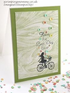 """scrimpingmommy: One for all ."""" best day ever"""" card Bicycle Cards, Have Good Day, Stamping Up Cards, April Showers, Best Day Ever, Kids Cards, Cardmaking, Stampin Up, Birthday Cards"""