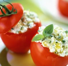 Tomatoes Stuffed with Feta and Basil - makes a yummy, low calorie lunch or appetizer!